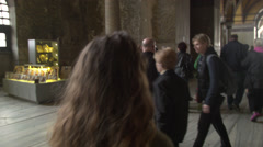 Young Woman Walks Through the Hagia Sofia, TURKEY Stock Footage