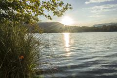 Sunset over a lake, Bañolas, Gerona, Spain Stock Photos