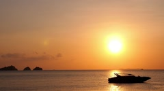 Cutter Boat with Sunset over the Sea Stock Footage