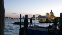 View from San Marco Square to the island of San Giorgio Maggiore. Stock Footage