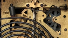 Old clock - inner cogwheel mechanism - stock footage
