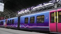 Commuter train carriage platform transport Stock Footage