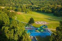 aqua park constructions in swimming pool - stock photo