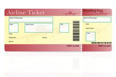 airline ticket first class vector illustration - stock illustration