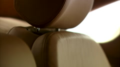 Close up of modern car interior, beige leather seats, Exclusive Limousine - stock footage