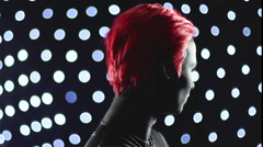 Red Head Girl Turning Lights Remix Full Stock Footage