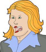 Isolated Blond Yelling - stock illustration