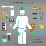 Creative set of artist Stock Illustration