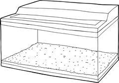 Outline of Aquarium with Gravel - stock illustration