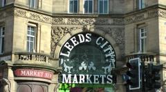 Victorian Architecture entrance Leeds Kirkgate market Stock Footage