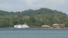 Green Bay with Boat in PALAU Stock Footage