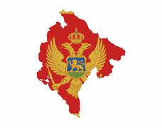 montenegro flag map - stock illustration