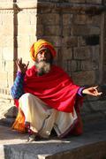 KATHMANDU, NEPAL-DECEMBER, 2009 - An unidentified ascetic or sadhu in - stock photo