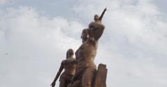 Monument de la Renaissance Africaine - the African Renaissance Monument - stock footage