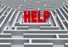 Navigating a Maze to Find Help Stock Illustration