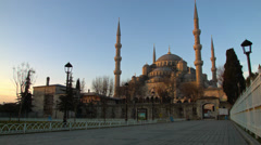 Blue Mosque at Sunrise in ISTANBUL, TURKEY Stock Footage