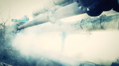 Smoke From Broken Thermal Pipes Energy waste Stock Footage