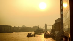 Beautiful reflection on the River Thames in the morning with Tower Bridge Stock Footage