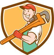 Plumber Smiling Holding Monkey Wrench Crest Stock Illustration
