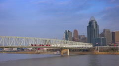 Cincinnati skyline at dawn across Ohio River Stock Footage