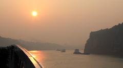 CHINA THREE GORGES DAM YANGTZE RIVER SUNRISE SUNSET Stock Footage