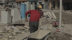 Construction site and construction workers in Tibet China-1 - stock footage