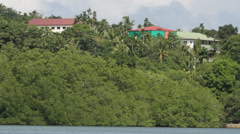 Houses on the Green hill in PALAU Stock Footage