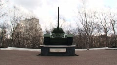 Preparation for the celebration of the 70th anniversar T-34 tank of World War II Stock Footage