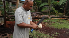 Local Resident Cutting Coconut in PALAU Stock Footage