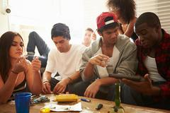 Gang Of Young People With Drugs And Gun - stock photo
