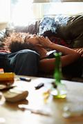 Couple Taking Drugs At Home Together Stock Photos