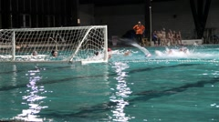 Water Polo Action In Front Of Goal, Players Fight For The Ball Stock Footage