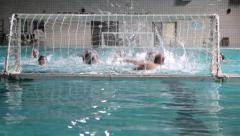 Action In Front Of Water-Polo Goal In The Pool. Players Celebrate The Goal Stock Footage