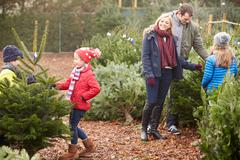 Outdoor Family Choosing Christmas Tree Together - stock photo