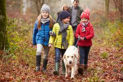 Family Walking Dog Through Winter Woodland - stock photo