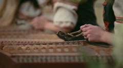 Cimbalom, concert hammered dulcimers. Slow motion Stock Footage