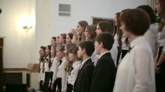 BELARUS, MINSK - 8 APRIL, 2015: Children's choir concert Stock Footage