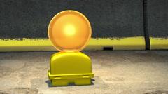 A flashing yellow warning light Stock Footage