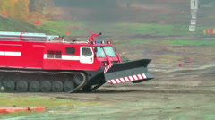 Fire fighting vehicle MPT-521 moves Stock Footage
