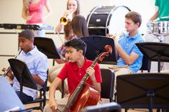 Pupils Playing Musical Instruments In School Orchestra Stock Photos