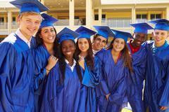 Group Of High School Students Celebrating Graduation Kuvituskuvat