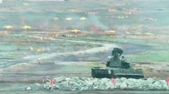 Antiaircraft gun missile system ZSU-23-4M4 Shilka-M4 Stock Footage