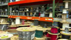 Spools of wire in a factory Stock Footage