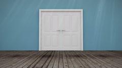 Door opening to green screen Stock Footage