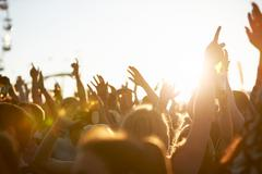 Audience At Outdoor Music Festival Stock Photos