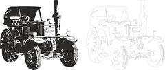 Vector illustration of an tractor. Piirros