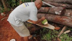 Local Resident Chopping Coconut in PALAU Stock Footage