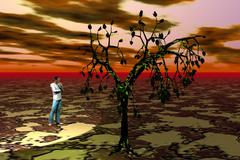 Man standing in thought before the tree - stock illustration