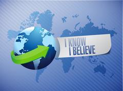 Stock Illustration of I Know I believe globe sign illustration
