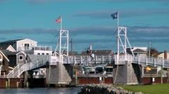 Maine fishing village, walking drawbridge - stock footage